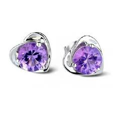 purple stud earrings sealike amethyst purple diamond design heart