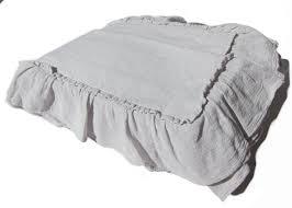 Piubelle Bedding Portugal Piubelle 3pc 100 Cotton Light Gray Ruffled Duvet Set Queen