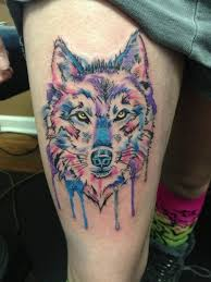 wolf watercolor tattoo design on thigh for women thigh tattoo