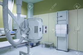 x ray room in a hospital er operating room with a classic ceiling