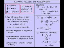 year 11 and 12 advanced distance velocity and acceleration