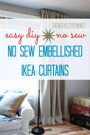 Easy Sew Curtains Easy Diy No Sew Embellished Ikea Curtain Panels The Inspired Room
