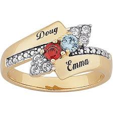 name ring personalized s two tone birthstone and name ring in 18kt