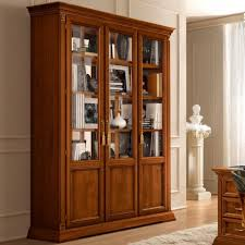 3 Door Display Cabinet Treviso Ornate Cherry Wood 3 Door Glass Display Cabinet F D