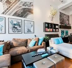 Decorating Living Room With Gray And Blue Elegant Brown Sofa Furniture Sets And Wall Tv Unit In Small Living
