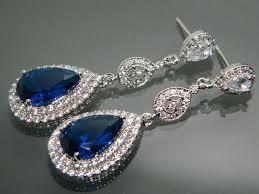 blue chandelier earrings bridal royal blue chandelier earrings navy blue cz wedding