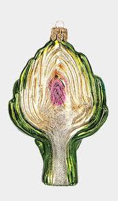 artichoke vegetable food blown glass ornament