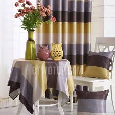 Striped Yellow Curtains Modern Yellow And Coffee Horizontal Striped Curtains