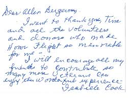 Thank You Letter Veterans thank you from our wwii veterans honor flight