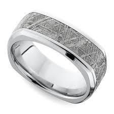 Square Wedding Rings square beveled men u0027s wedding ring with meteorite inlay in cobalt