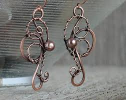 wire earrings wire jewelry wire wrapped earrings with copper pearl swirl