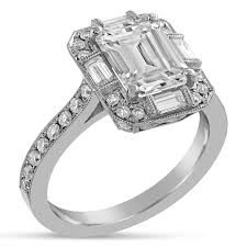 antique design rings images Emerald cut moissanite antique style diamond engagement ring with jpg