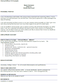 clerical officer cv example u2013 cover letters and cv examples