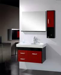 two tones small wall mounted bathroom sink with red cabinet doors