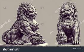 lion dog statue guardian lion foo fu dog guard stock photo 283250363