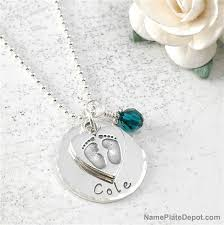 necklace pendants personalized images New mom jewelry personalized baby steps disc penant with jpg