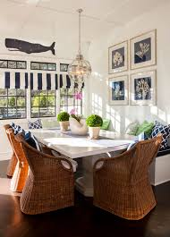 new england style dining room wicker chairs blue and white