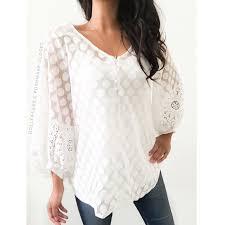 alfani blouses 65 alfani tops white sheer polkadot lace billowy top from