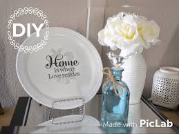 Diy Home Decor by Dollar Tree Diy Home Decor Plate Using Wall Decal Easy Youtube