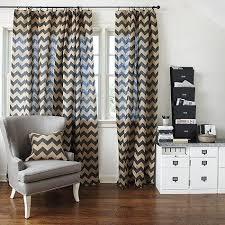 Brown Burlap Curtains And Beige Chevron Burlap Panel