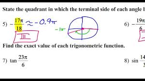 day 9 hw 5 and 6 state the quadrant in which the terminal side
