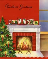 vintage illustration of christmas tree by fireplace posters