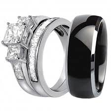 black wedding rings his and hers his hers 3 pcs black titanium matching band three princess
