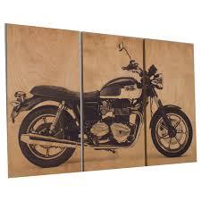 vintage style triump bonneville motorcycle screen print wood