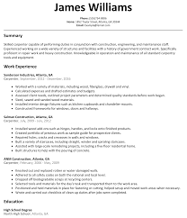 Work Experience Resume Format For It by Carpenter Resume Sample Resumelift Com