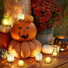 led pumpkin tea lights pack of 12 led tea light flameless electric candles bright