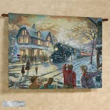 kinkade all aboard for lighted wall tapestry