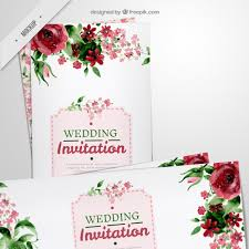 for wedding floral flyers for wedding in watercolor effect psd file