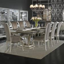 aico hollywood swank trestle dining table set 9 piece in pearl