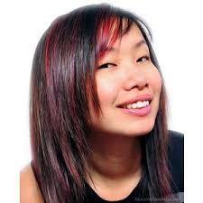 hair highlight for asian coy asian girl with dark straight black hair and red highlig