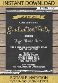 graduation party invitations editable and printable template