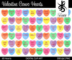 heart candy sayings digital clipart hearts convo hearts conversation