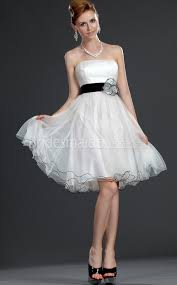 a line chiffon strapless short with ribbon little black and white