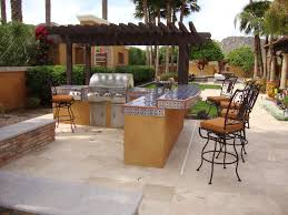 lovely outdoor kitchen patio design ideas using blue ceramic bar