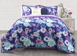 Teen Floral Bedding Blue Purple Floral Comforter Set 3 Piece Full Queen By Seventeen