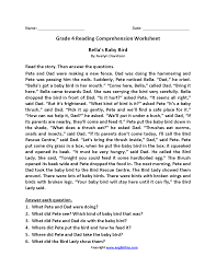 reading comprehension grade reading worksheets fourth grade reading worksheets