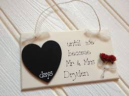 personalized wedding plaque engagement gift countdown chalkboard personalised wedding plaque
