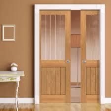 Patio Door Cat Flap by River Thames Oak Double Pocket Doors Half Light Etched Clear