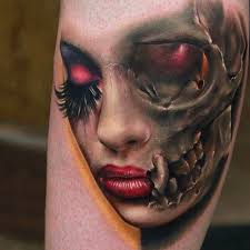 3d very realistic creepy half skull half face tattoo on leg
