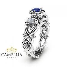 Blue Wedding Rings by Wedding Rings Blue Stone Ring With Diamonds Blue Diamond Wedding