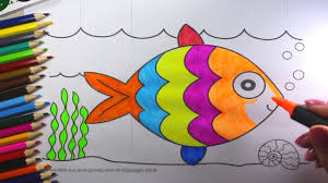 drawing children animals paint fish colouring