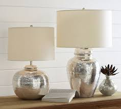 Pottery Barn Lamos Pierce Bedside Tall Lamp Base Antique Silver Finish Lamp Bases