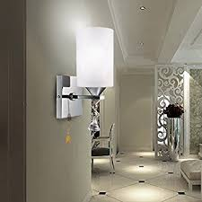Wall Sconce With Pull Chain Switch Wall Sconce With Switch Satin Nickel Finish Frosted Opal Glass