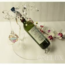 flat packed acrylic lucite single bottle wine rack with glass