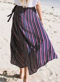 fashion stripe high low maxi skirt oasap com