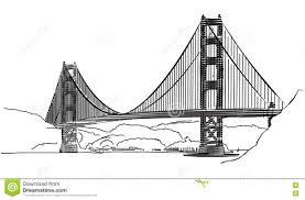 golden gate bridge san francisco outline sketch stock
